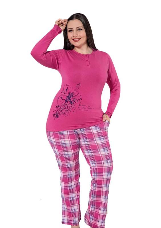 AYDOĞAN - Aydoğan Düğme Detaylı Desenli Büyük Beden Pijama Takımı 4715 | Pembe