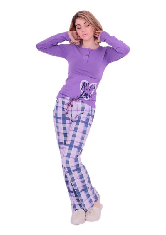 AYDOĞAN - Aydoğan Düğme Detaylı Desenli Pijama Takımı 4300   Mor