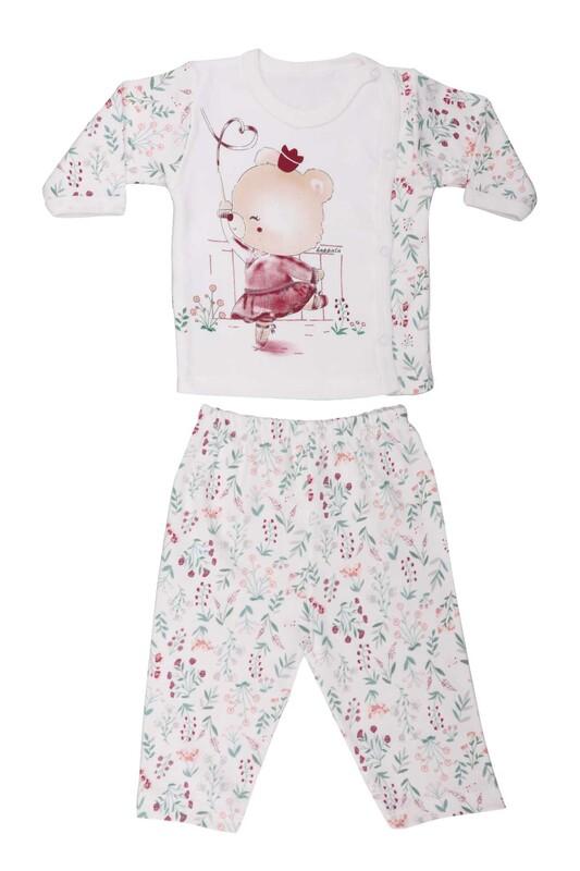 HOPPALA BABY - Ayıcık Desenli Zıbın Takımı 2064 | Beyaz