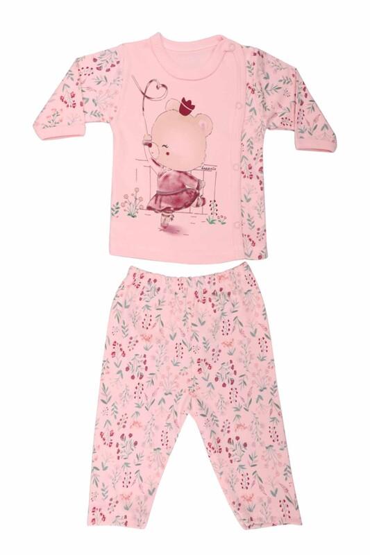 HOPPALA BABY - Ayıcık Desenli Zıbın Takımı 2064 | Pudra