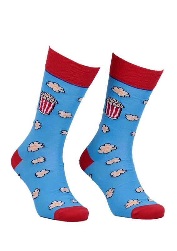 AYTUĞ - Aytuğ Popcorn Desenli Erkek Çorap 2633 | Mavi