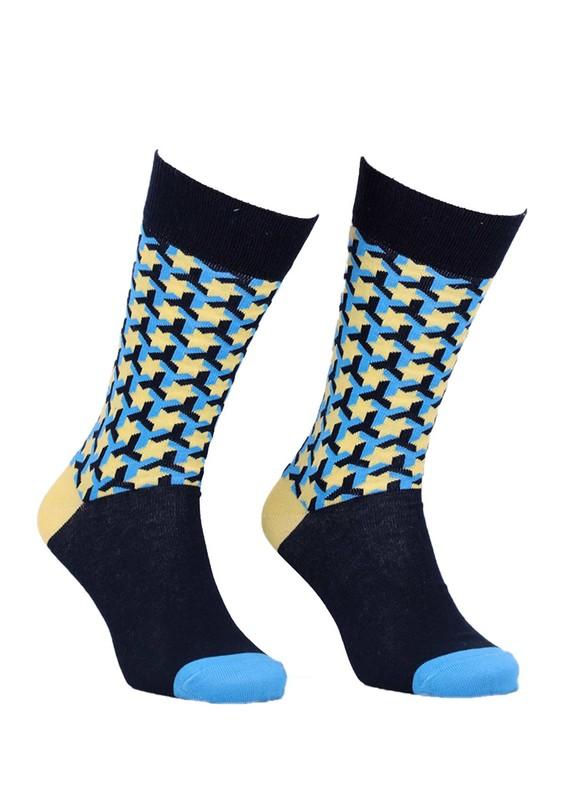 AYTUĞ - Aytuğ Yıldız Desenli Erkek Çorap 2433 | Sarı