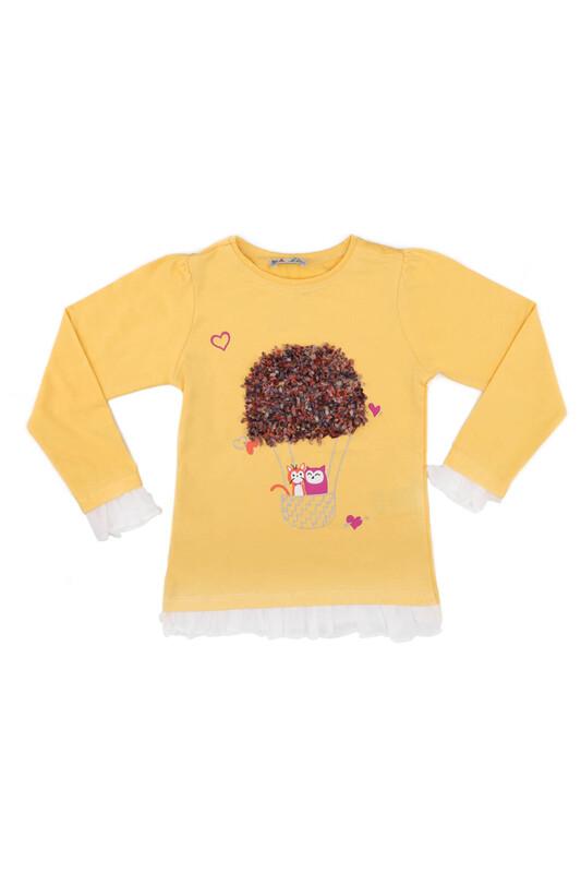 ALG - Balon Baskı Nakış Uzun Kollu Kız Çocuk Sweat   Sarı