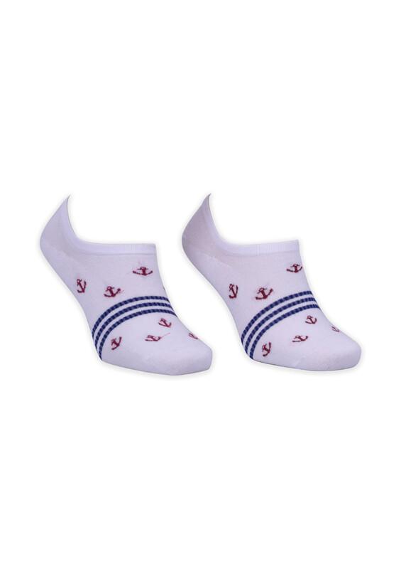 ROFF - Bamboo Çapa Desenli Erkek Babet Çorabı | Beyaz