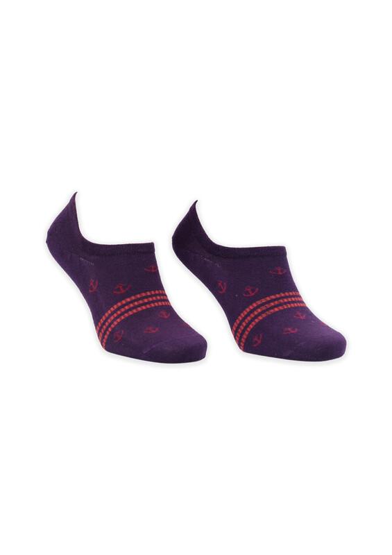 ROFF - Bamboo Çapa Desenli Erkek Babet Çorabı | Mor