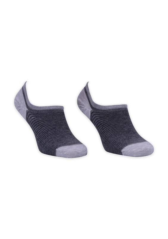 ROFF - Bamboo Çizgili Erkek Babet Çorabı 002 | Gri