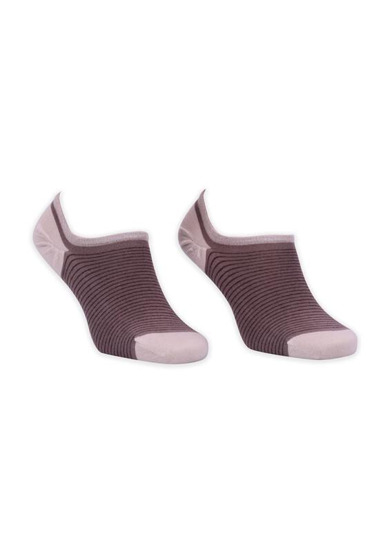 ROFF - Bamboo Çizgili Erkek Babet Çorabı 002 | Kahverengi