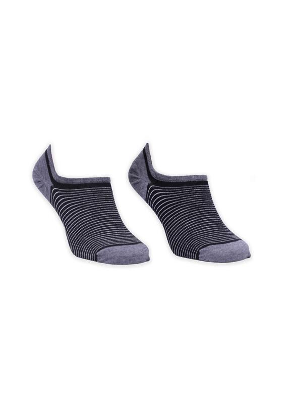 ROFF - Bamboo Çizgili Erkek Babet Çorabı 002 | Siyah Gri