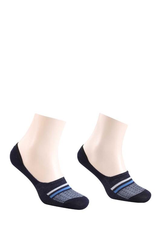 ROFF - Bamboo Çizgili Erkek Babet Çorabı | Lacivert Gri
