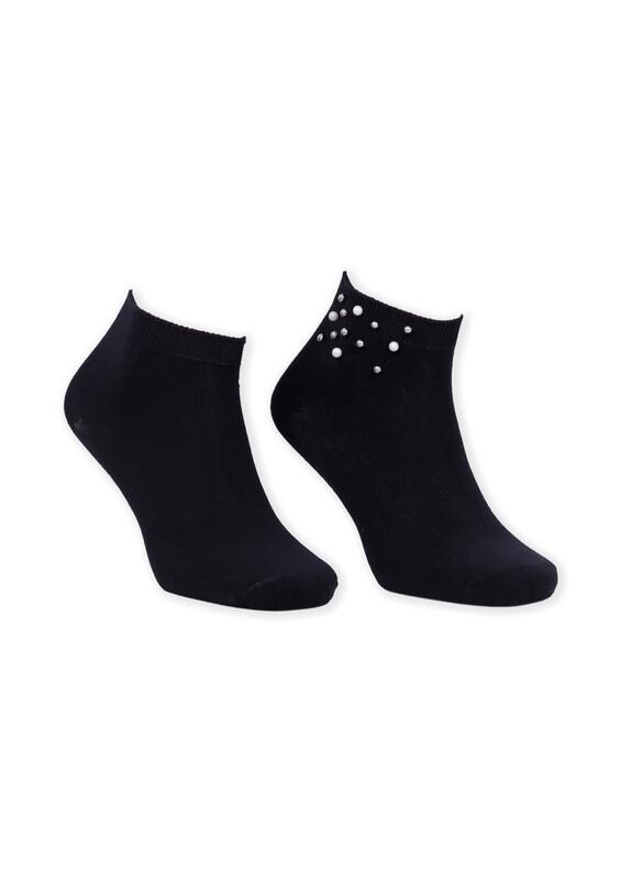 SİMİSSO - Bamboo İncili Kadın Patik Çorap | Siyah