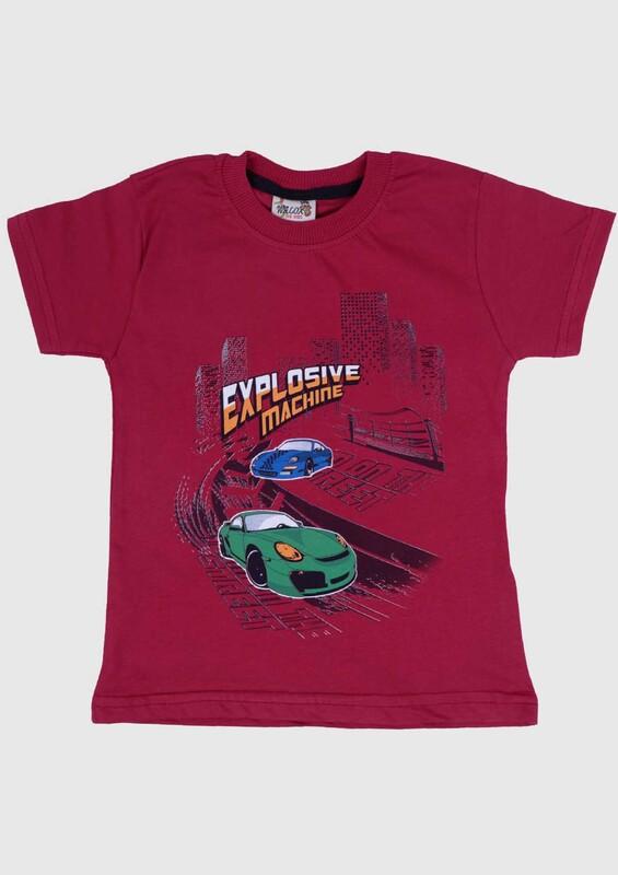 SİMİSSO - Baskılı Kısa Kollu Erkek Çocuk T-shirt 002 | Bordo