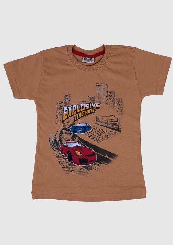 SİMİSSO - Baskılı Kısa Kollu Erkek Çocuk T-shirt 002 | Hardal