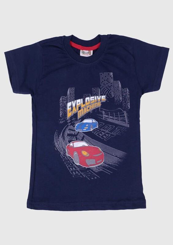 SİMİSSO - Baskılı Kısa Kollu Erkek Çocuk T-shirt 002 | Lacivert