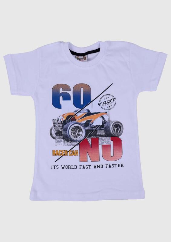 SİMİSSO - Baskılı Kısa Kollu Erkek Çocuk T-shirt 003 | Beyaz