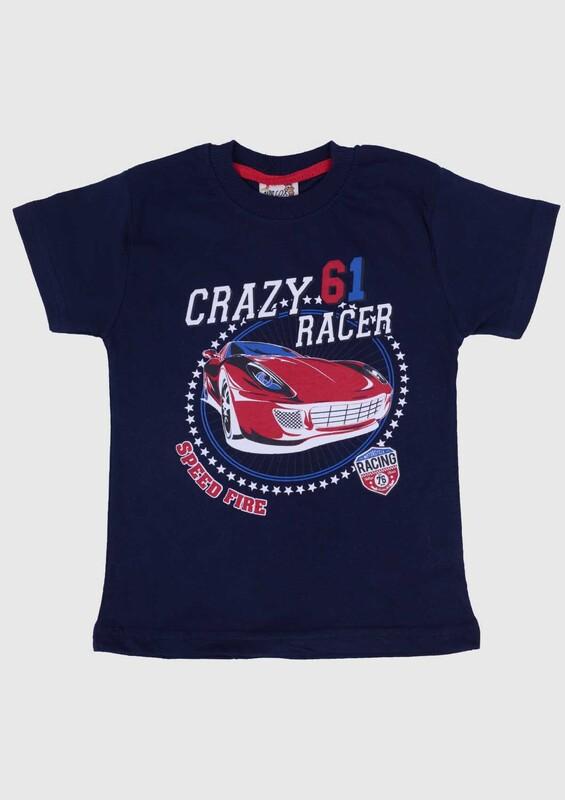 SİMİSSO - Baskılı Kısa Kollu Erkek Çocuk T-shirt 005 | Lacivert