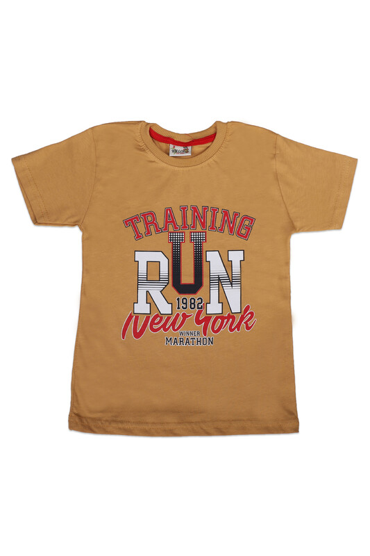 WALOX - Baskılı Kısa Kollu Erkek Çocuk T-shirt 006 | Hardal