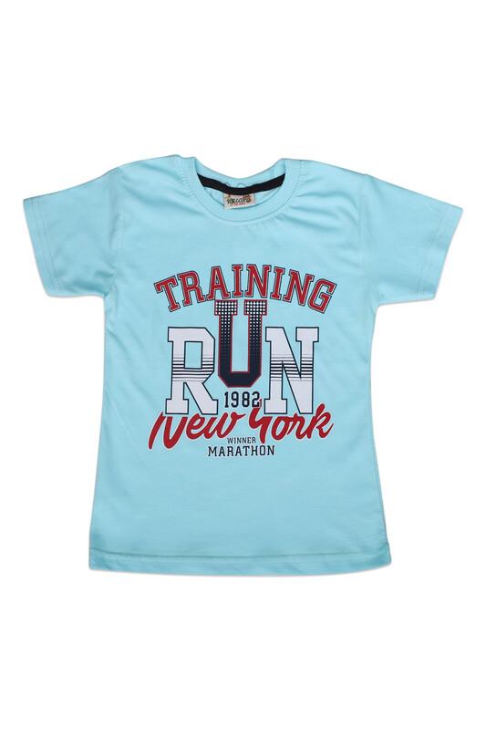 WALOX - Baskılı Kısa Kollu Erkek Çocuk T-shirt 006 | Turkuaz