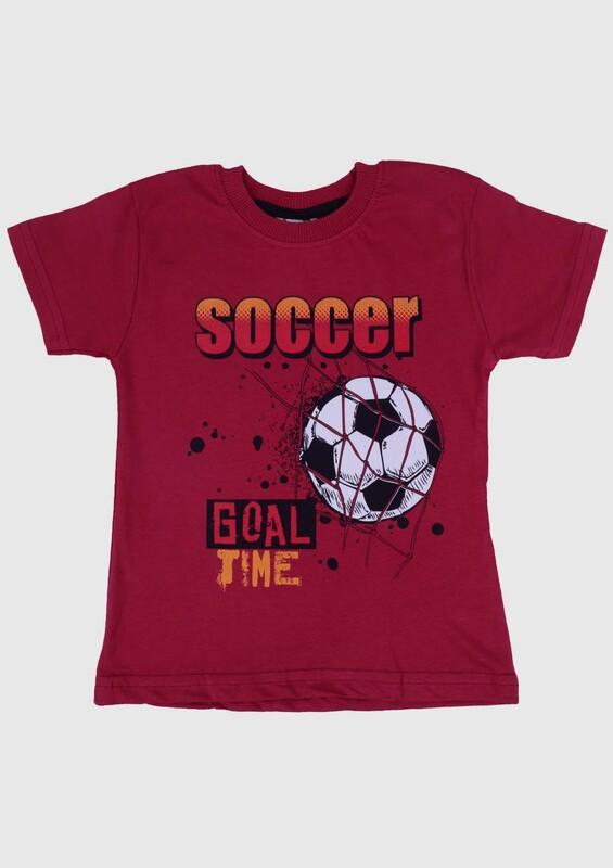 WALOX - Baskılı Kısa Kollu Erkek Çocuk T-shirt 007 | Bordo