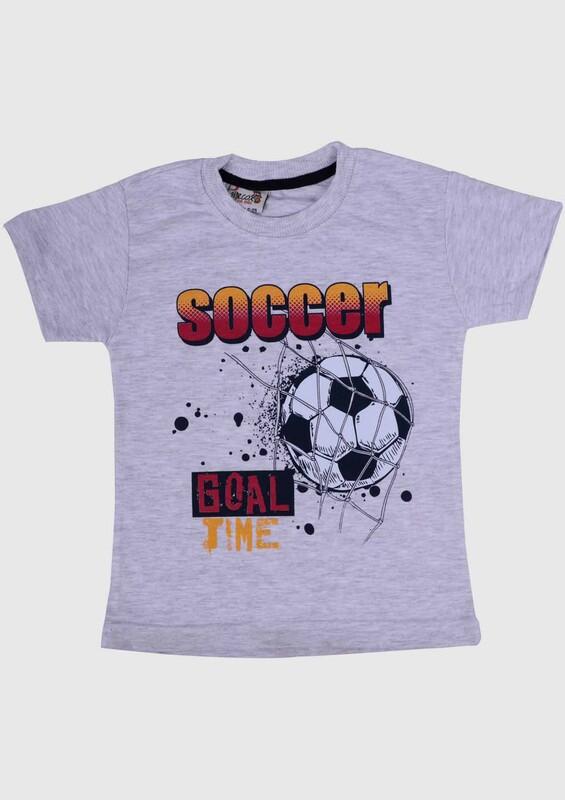 WALOX - Baskılı Kısa Kollu Erkek Çocuk T-shirt 007 | Gri