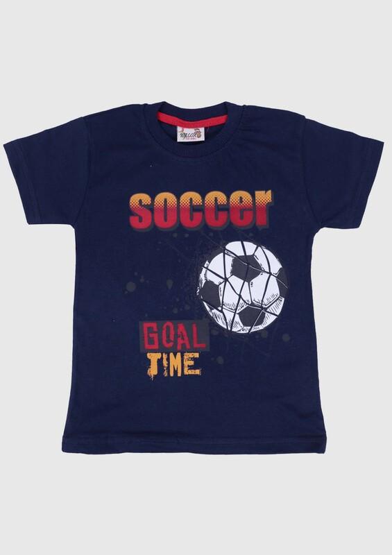 WALOX - Baskılı Kısa Kollu Erkek Çocuk T-shirt 007 | Lacivert
