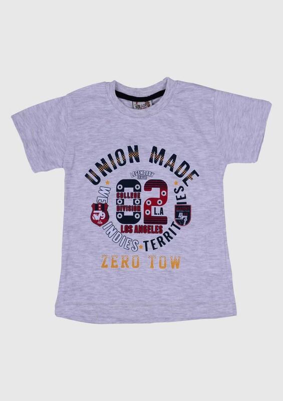 SİMİSSO - Baskılı Kısa Kollu Erkek Çocuk T-shirt | Gri
