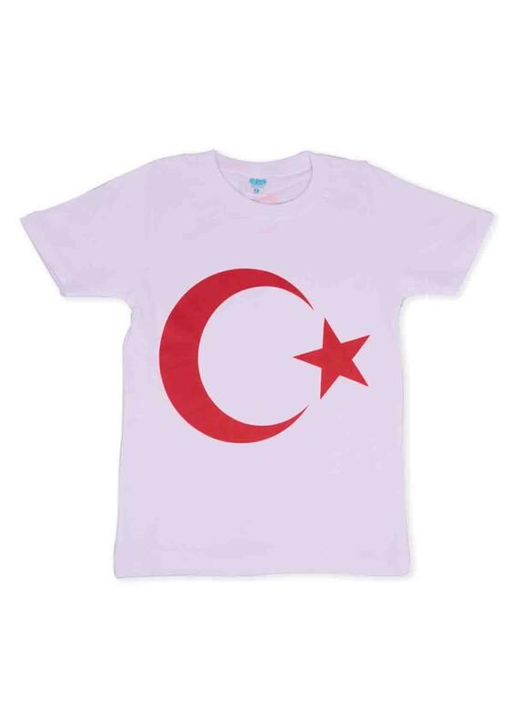 SİMİSSO - Bayrak Baskılı Çocuk T-Shirt | Beyaz
