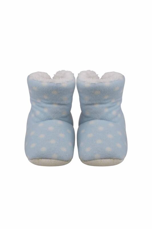 SİMİSSO - Puantiyeli Polarlı Bebek Panduf   Mavi