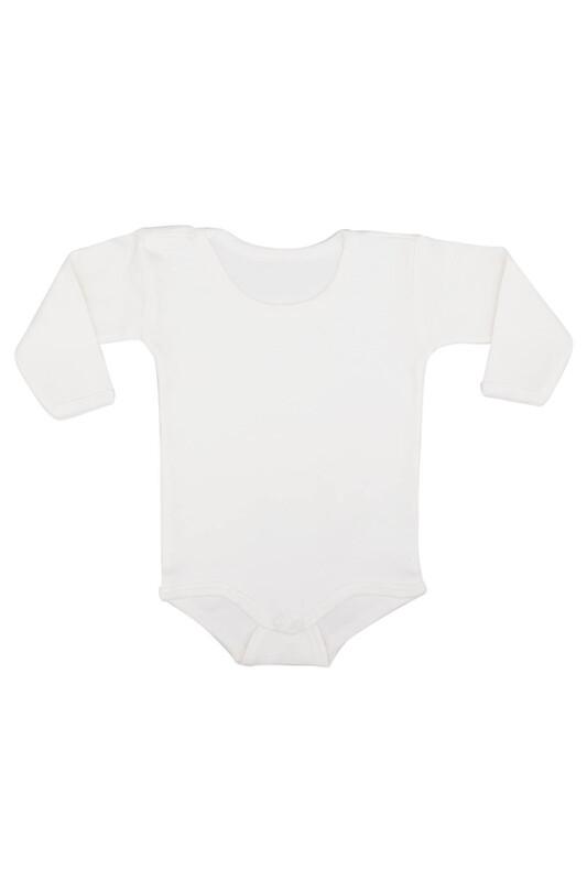 MİNİSOFT - Uzun Kollu Çıtçıtlı Bebek Penye Body | Beyaz