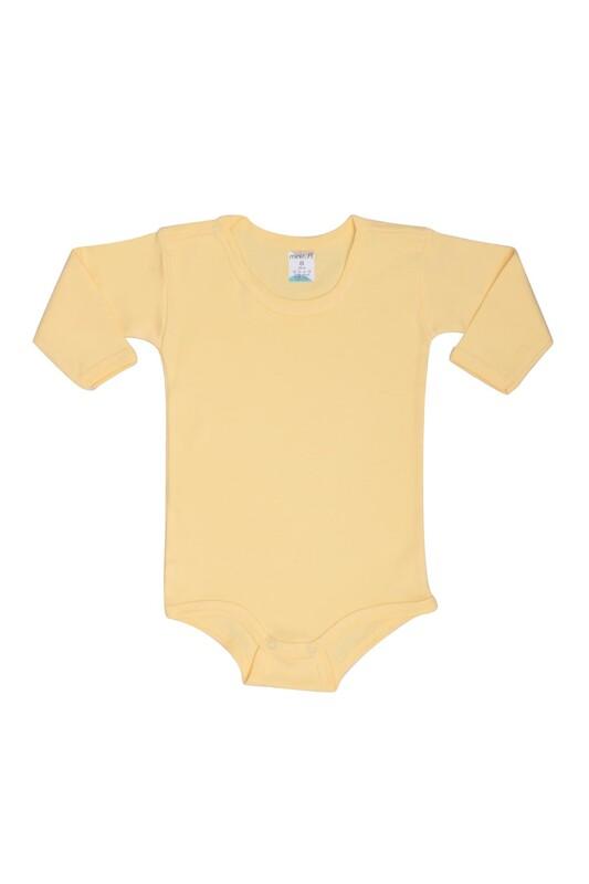 MİNİSOFT - Uzun Kollu Çıtçıtlı Bebek Penye Body | Sarı