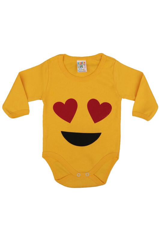 SİMİSSO - Emoji Baskılı Uzun Kollu Zıbın 001 | Sarı