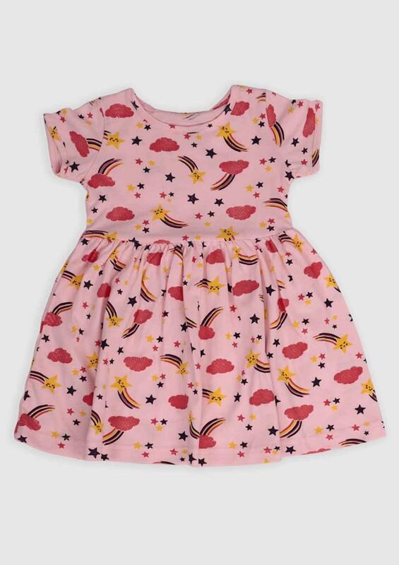 ALG - ALG Yıldız Baskılı Kız Bebek Elbise | Bebe Pembe