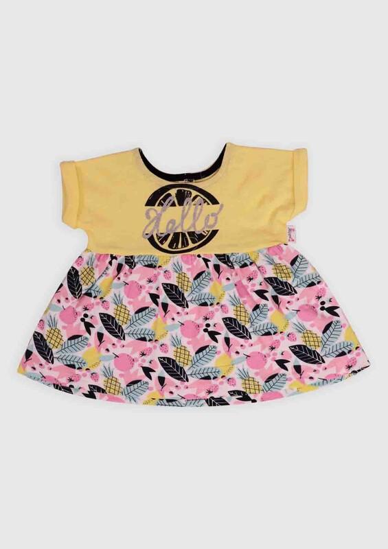 Hippıl Baby - Hippıl Baby Ananas Baskılı Bebek Elbise   Sarı
