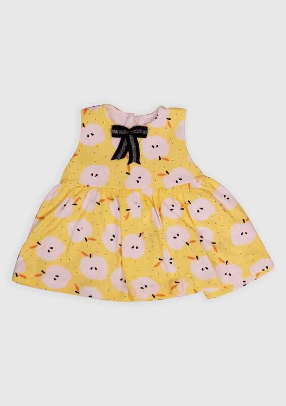 Hippıl Baby - Hippıl Baby Elma Baskılı Bebek Elbise   Sarı