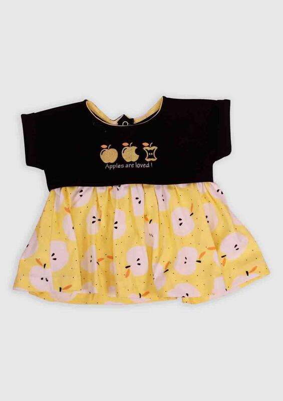 Hippıl Baby - Hippıl Baby Elma Baskılı Bebek Elbise 002   Siyah