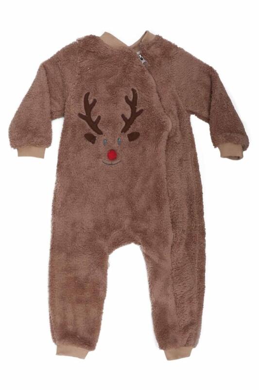 SİMİSSO - Geyik Desenli Bebek Peluş Tulum 3147   Kahverengi