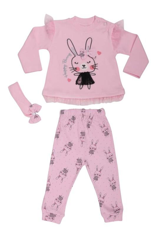 BABY CHOİCE - Tavşan Desenli Bebek Takım 8697 | Pembe