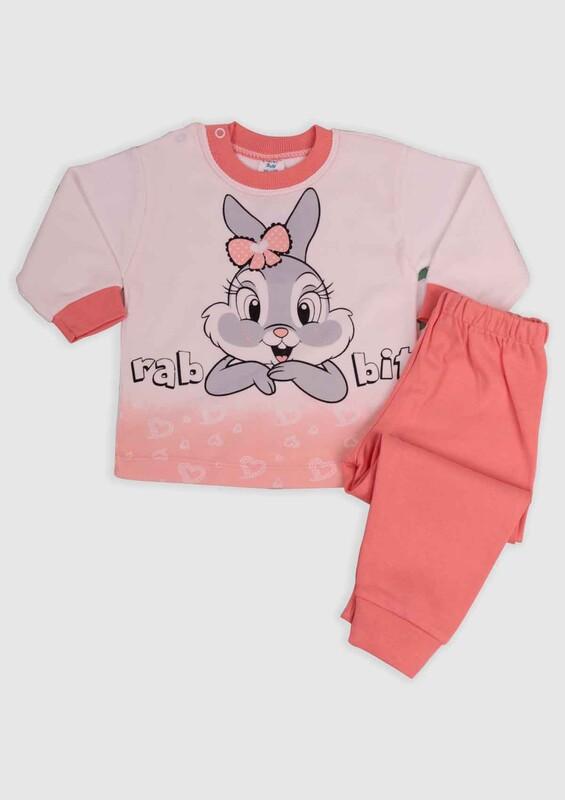 BİLKON - Tavşan Baskılı Bebek 2'li Takım | Somon