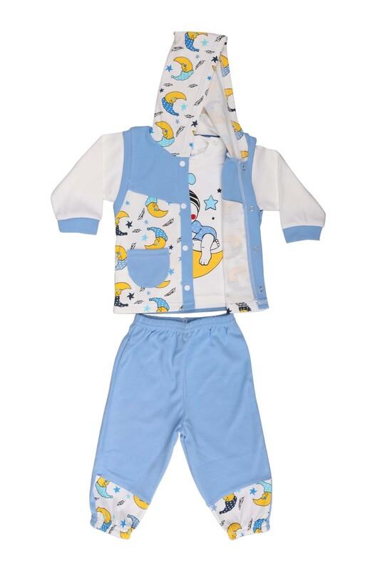 Çağkon - Çağkon Ay Dede Baskılı Bebek Takımı 813 | Mavi