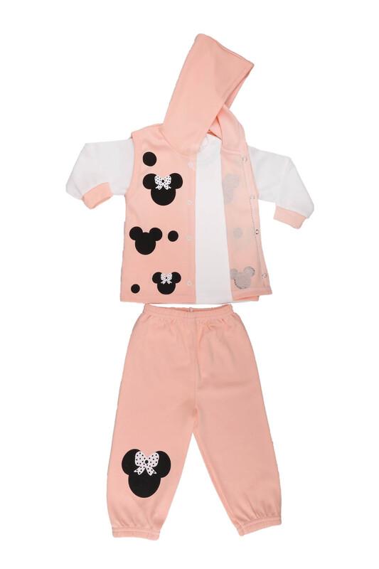 Çağkon - Çağkon Kız Bebek 3'lü Takım 802   Pudra