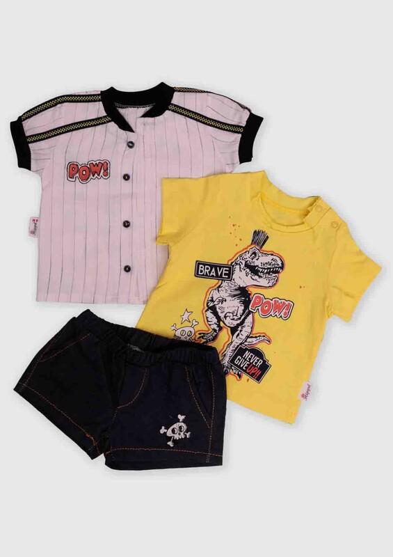 Hippıl Baby - Hippıl Baby Gömlekli 3'lü Bebek Takım   Sarı