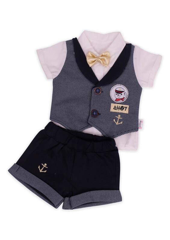 Hippıl Baby - Hippıl Papyonlu Gömlek 2'li Erkek Bebek Takım | Lacivert