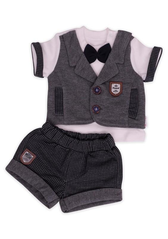 Hippıl Baby - Hippıl Baby Panyonlu Yelek 2'li Erkek Bebek Takım | Gri