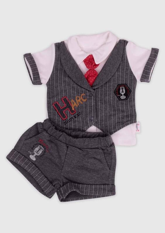 Hippıl Baby - Hippıl Baby Kravatlı 2'li Erkek Bebek Takım | Gri