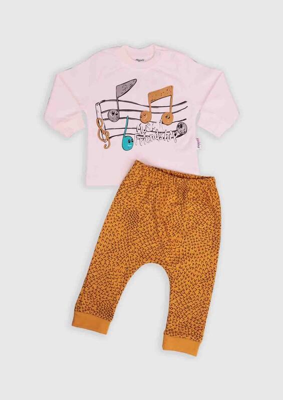 HOPPALA BABY - Hoppala Baby Nota Baskılı 2'li Bebek Takım   Hardal