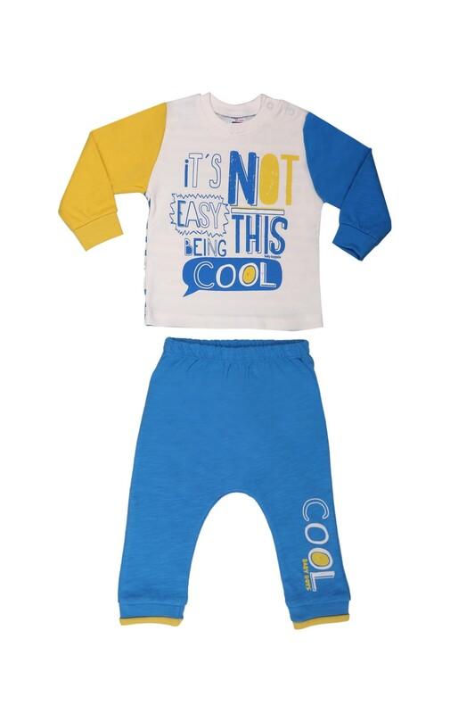 HOPPALA BABY - Hoppala Baby Yazı Baskılı Bebek Takımı 2011 | Mavi