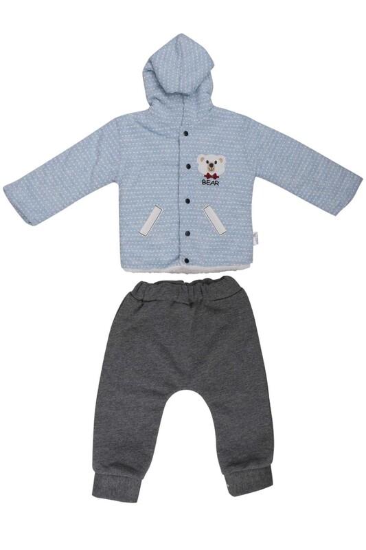 MİLLİON - Ayıcık Nakışlı Bebek Takım 2220 | Mavi
