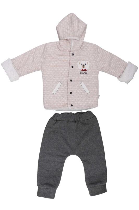 MİLLİON - Ayıcık Nakışlı Bebek Takım 2220 | Krem