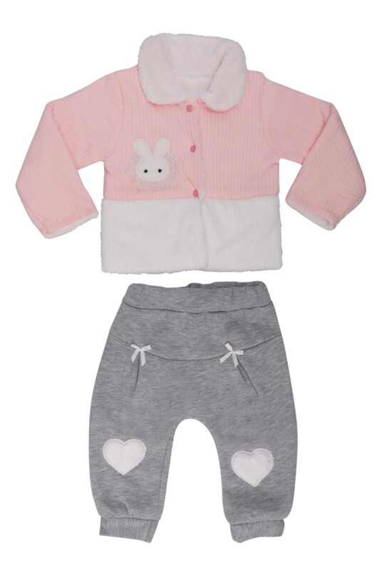 MİLLİON - Tavşan Nakışlı Bebek Takım 2202 | Pudra