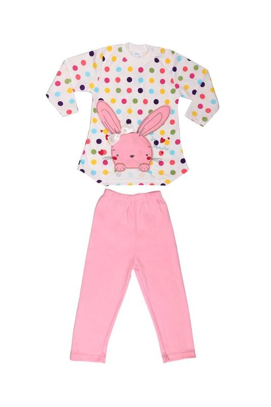 Nafitto - Puantiyeli Tavşan Desenli Bebek Takımı 1195   Pembe