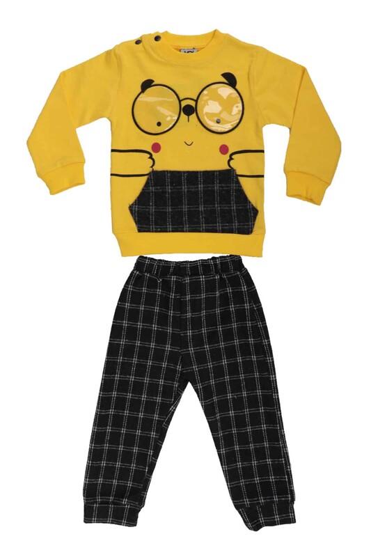 SİMİSSO - Gözlük Baskılı Bebek Takım 53175 | Sarı